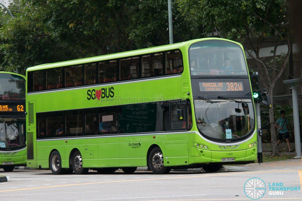 Bus 382W: Go-Ahead Volvo B9TL Wright (SBS3434M)