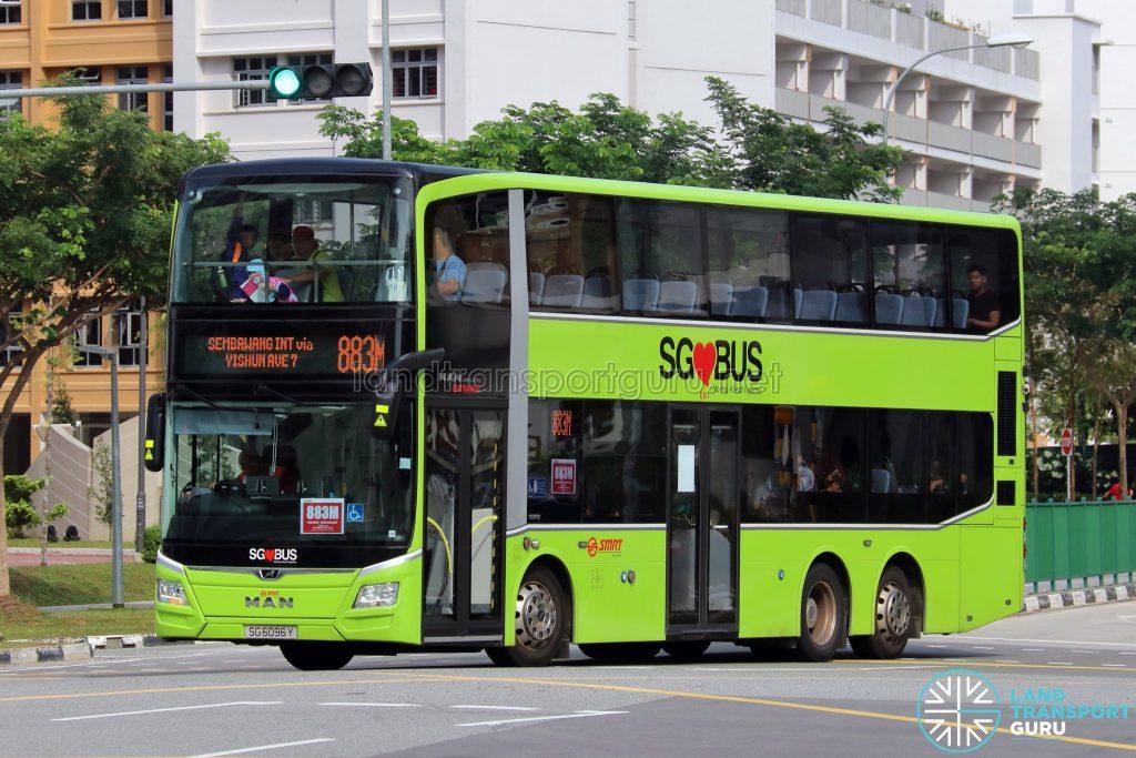 Bus 883M: SMRT MAN Lion's City DD A95 (SG6096Y)