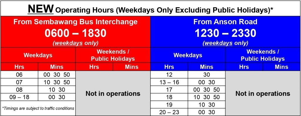 Express 167e Departure Timings from 9 February 2020