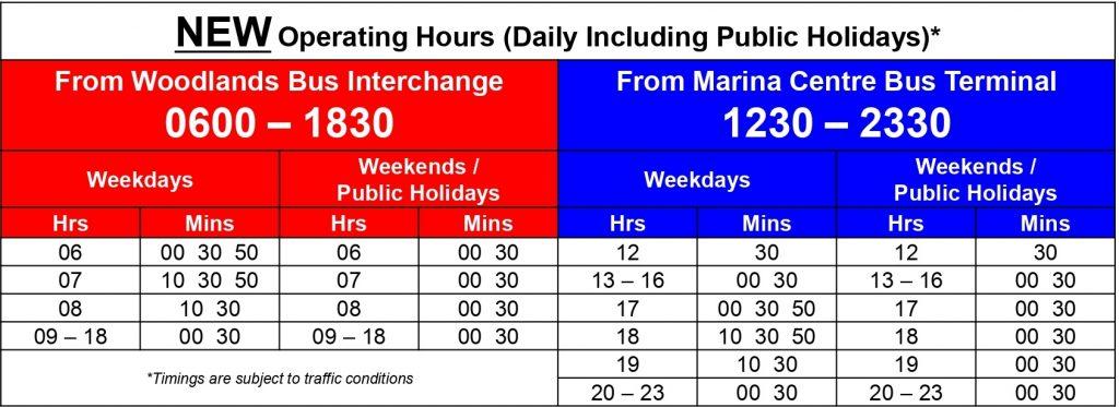 Express 960e Departure Timings (9 Feb 2020 - 3 Jan 2021)
