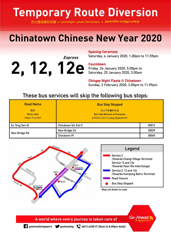 [Updated Poster] Go-Ahead Singapore Temporary Route Diversion Poster for Chinatown CNY Celebrations in January & February 2020