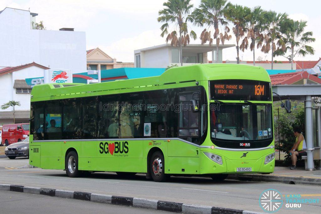 Bus 16M: SBS Transit Volvo B5LH (SG3049D)