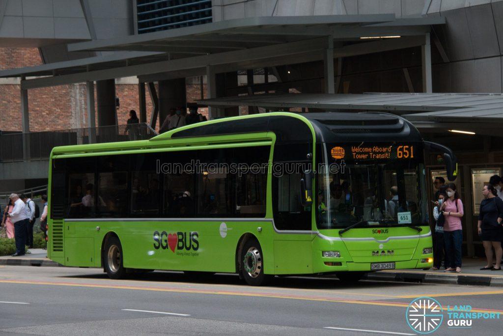 Bus 651: Tower Transit MAN Lion's City A22 (SMB3049B)