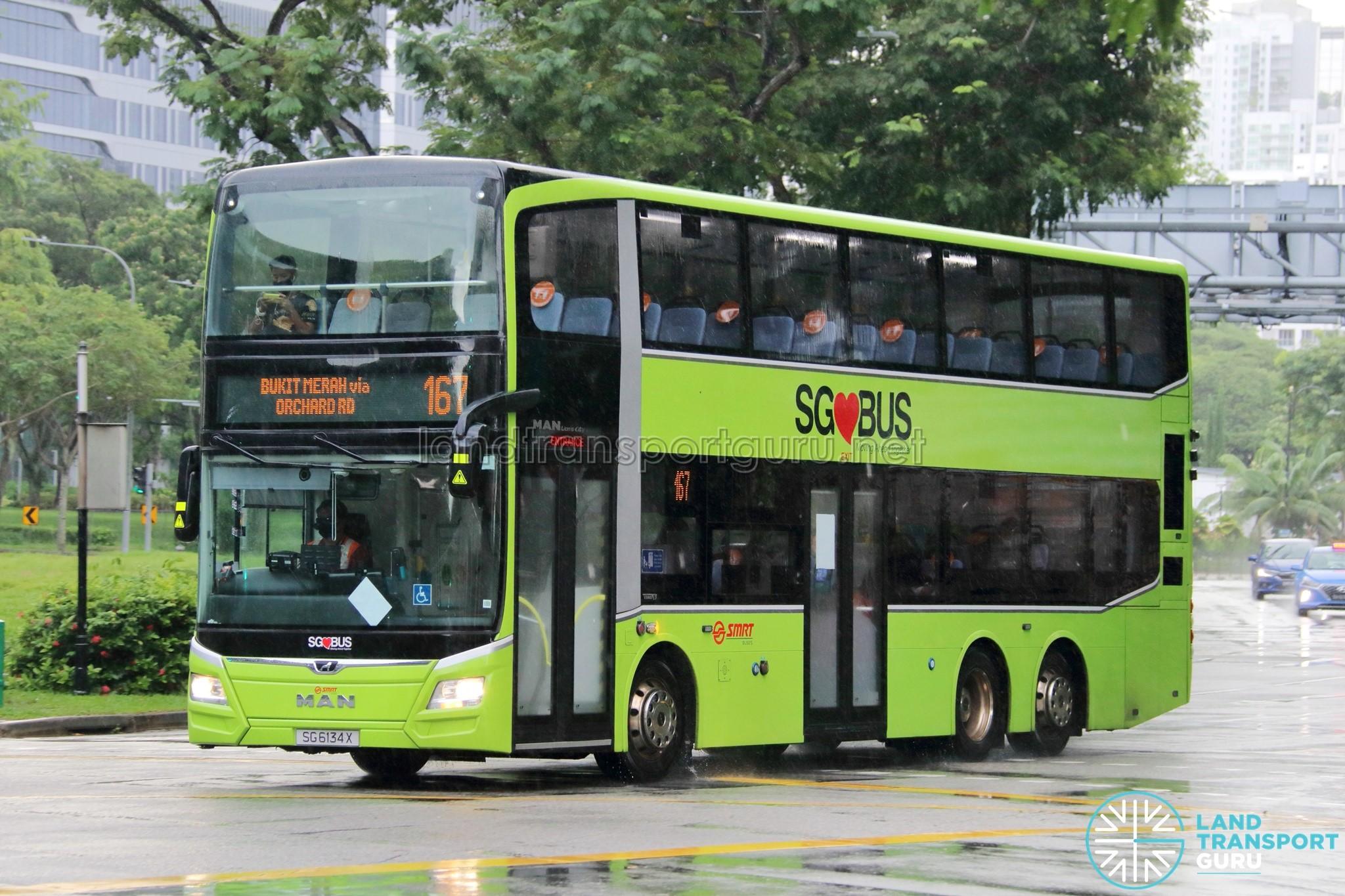 Bus 167: SMRT MAN Lion's City DD A95 (SG6134X)