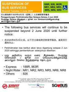 Post-Circuit Breaker Suspension of Bus Services - SMRT Buses