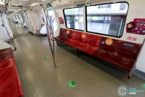 Social Distancing Stickers on MRT
