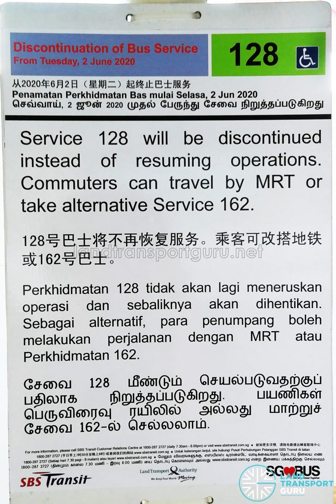 Bus 128: Discontinuation of Bus Service (2 June 2020)