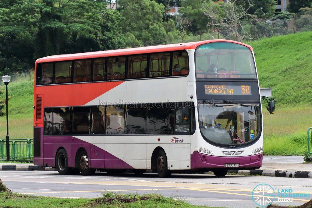 Bus 50: SBS Transit Volvo B9TL Wright (SBS3030U)