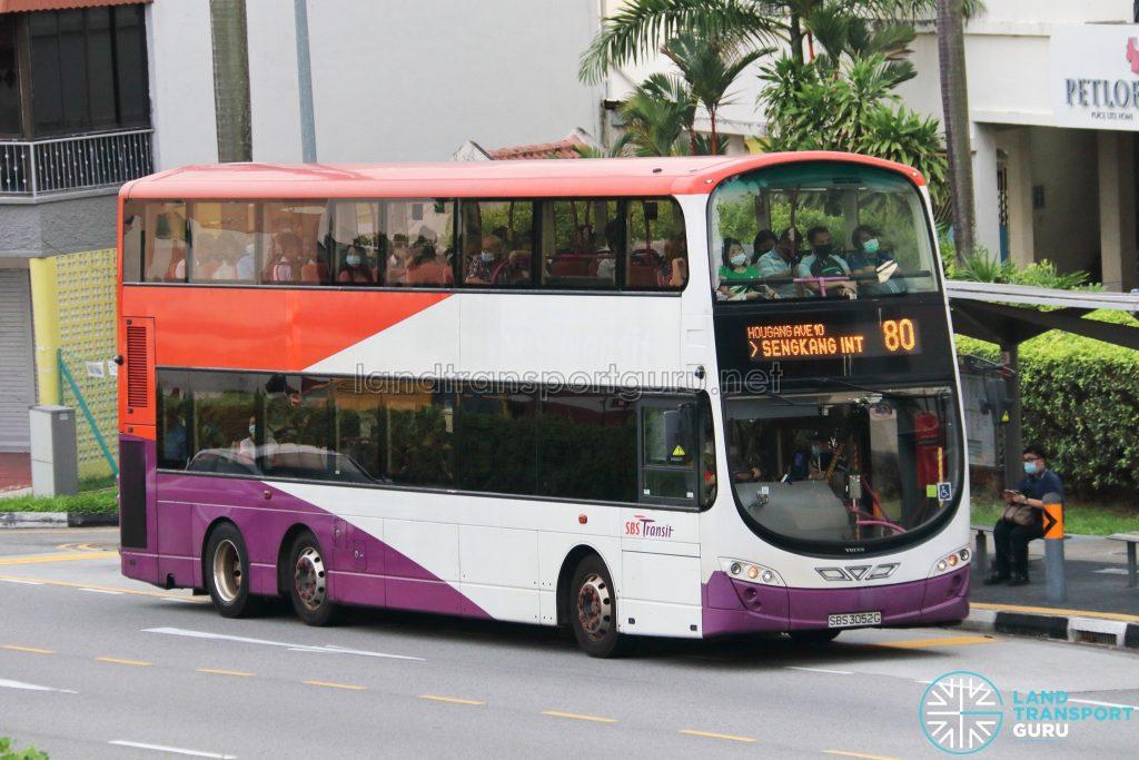 Bus 80: SBS Transit Volvo B9TL Wright (SBS3052G)