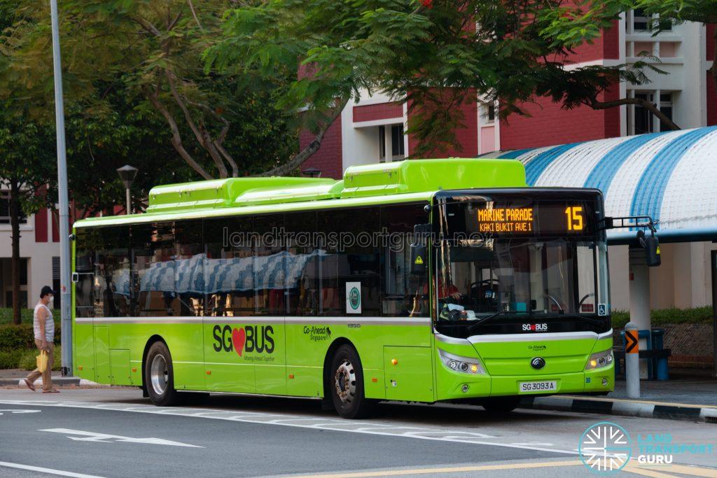 Bus 15: Go-Ahead Yutong E12 (SG3093A)