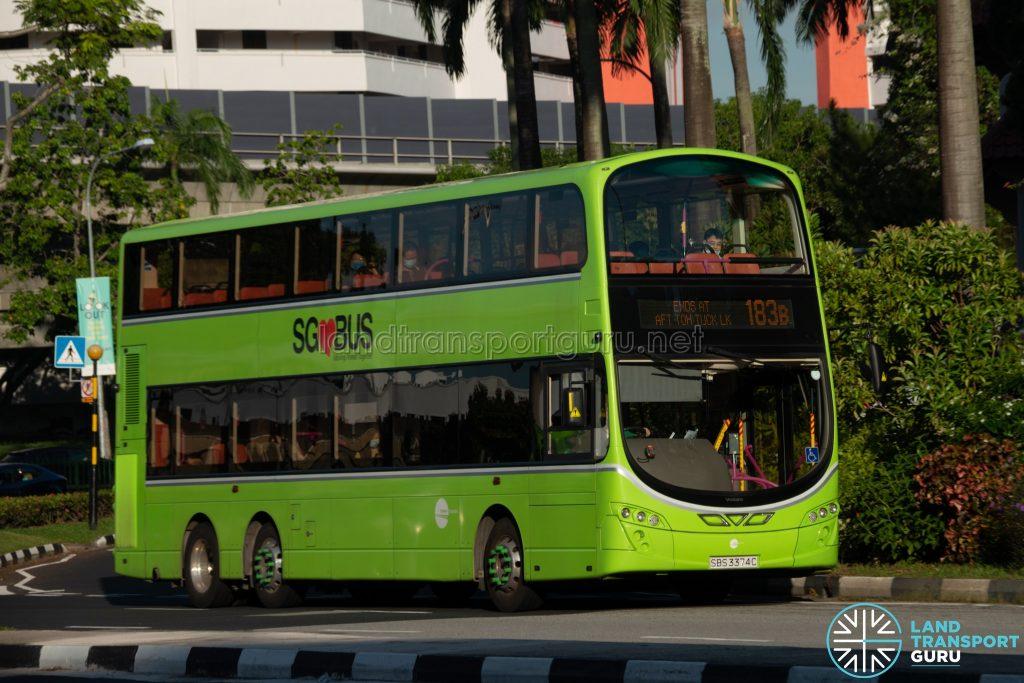 Bus 183B: Tower Transit Volvo B9TL Wright (SBS3374C)