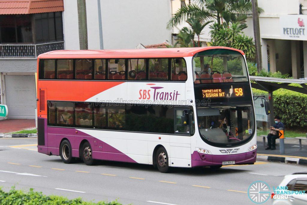 Bus 58: SBS Transit Volvo B9TL Wright (SBS3663T)