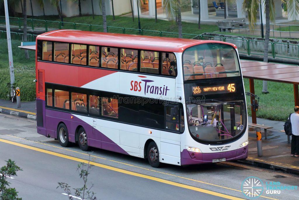Bus 45: SBS Transit Volvo B9TL Wright (SBS7627Y)