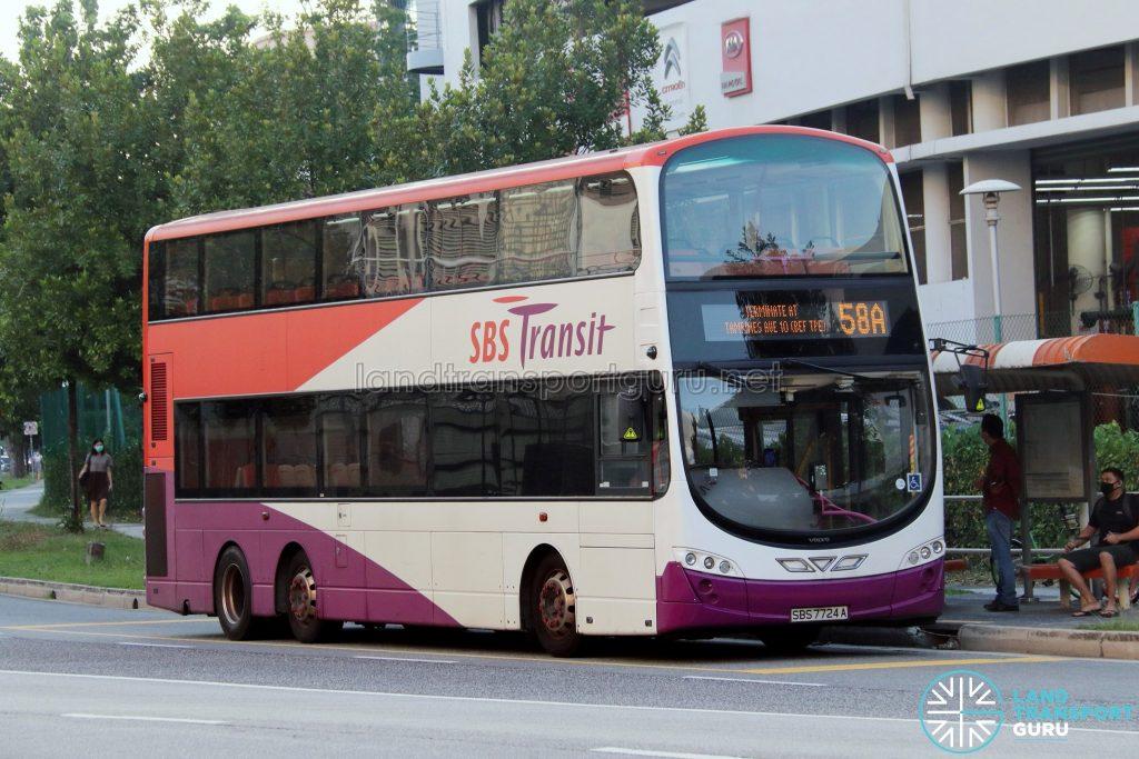 Bus 58A: SBS Transit Volvo B9TL (SBS7724A)