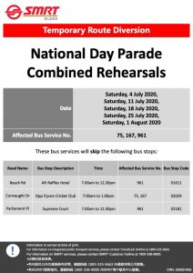 SMRT Buses Temporary Route Diversion Poster for National Day Parade 2020 Rehearsals