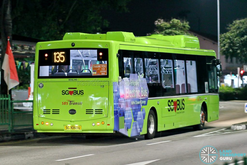 Bus 135: SBS Transit BYD K9 - Rear (SG3060U)