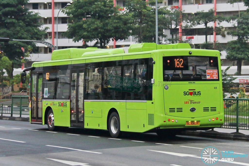Bus 162: SBS Transit BYD K9 - Rear (SG3062P)