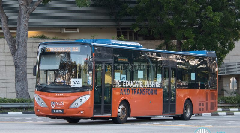 NUS Bus AA1: ComfortDelgro Volvo B9L (PC4051X)