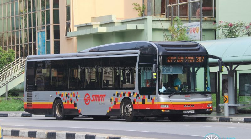 Bus 307: SMRT MAN A22 (SMB1591P)