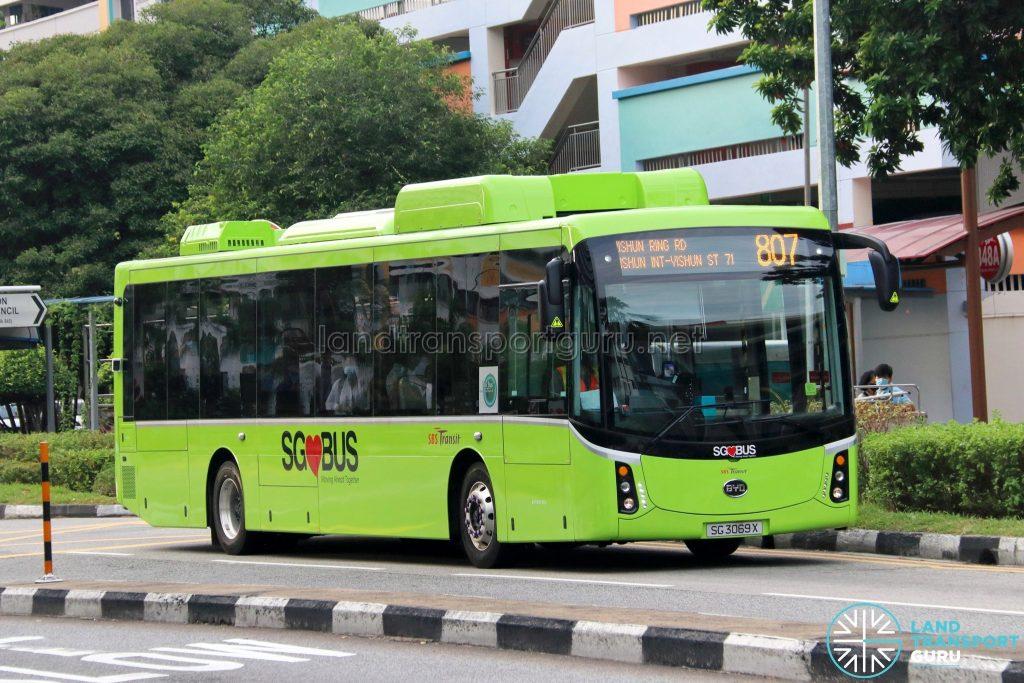 Bus 807: SBS Transit BYD K9 (SG3069X)