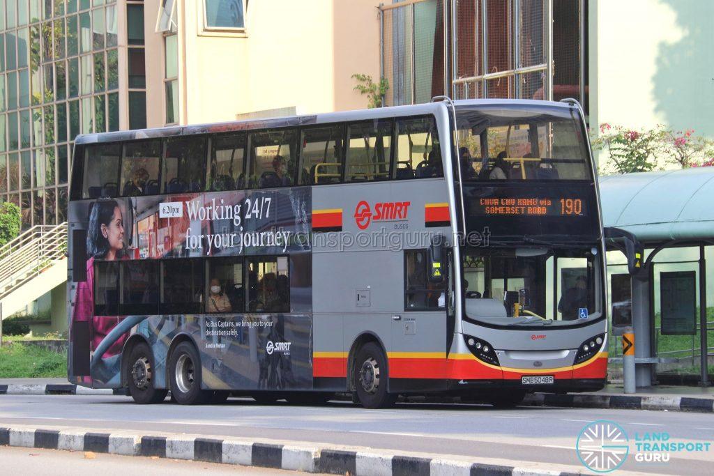 Bus 190: SMRT Alexander Dennis Enviro500 (SMB5048R)