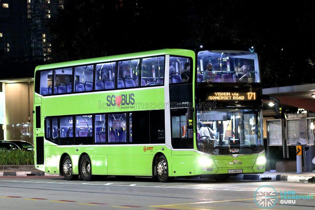 Bus 171: SMRT MAN Lion's City DD A95 (SG5864D)