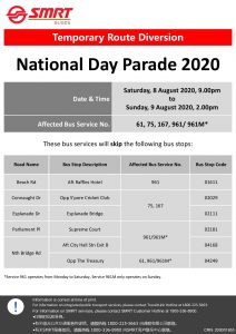 SMRT Buses Temporary Route Diversion Poster for National Day Parade 2020