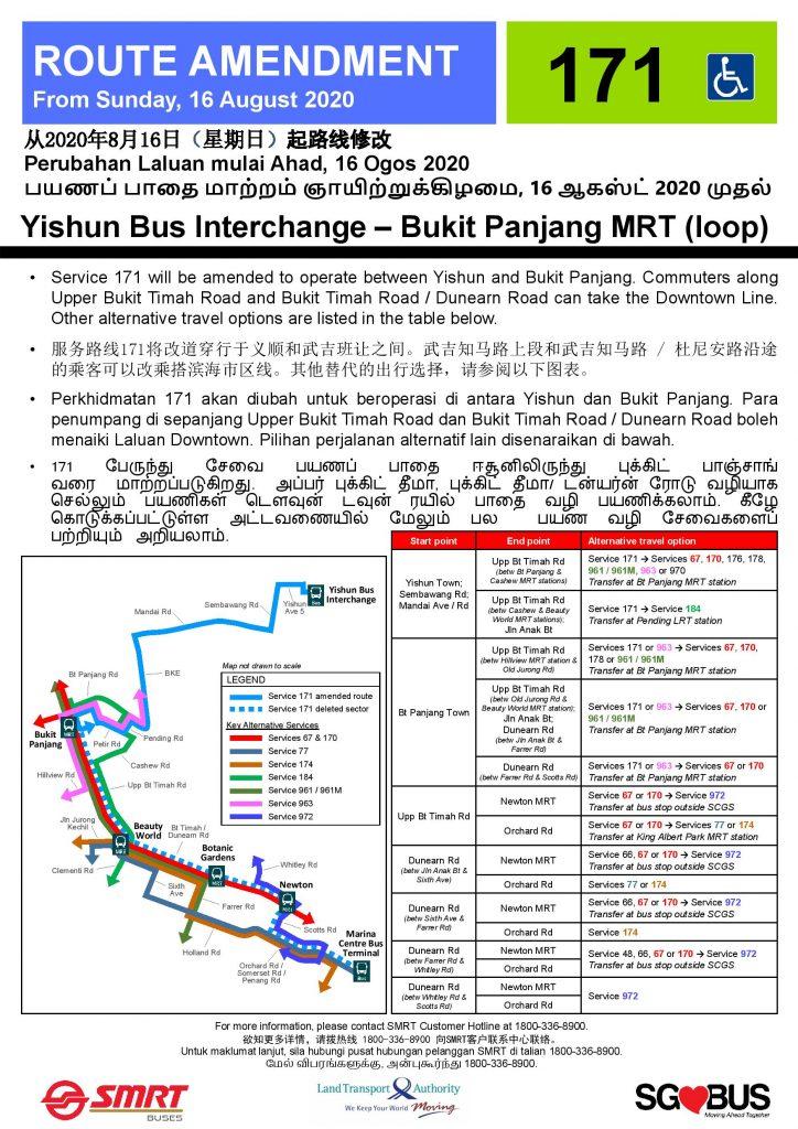 [Withdrawn Poster] Bus 171: Route Amendment to loop at Bukit Panjang