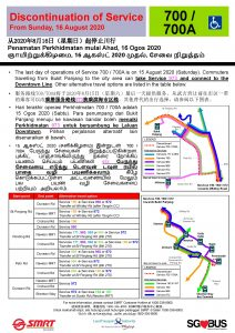 [Withdrawn Poster] Withdrawal of Bus Services 700 & 700A