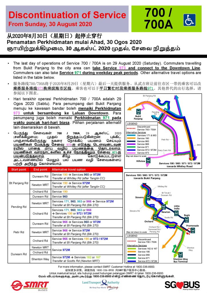 [Updated Poster] Withdrawal of Bus Services 700 & 700A