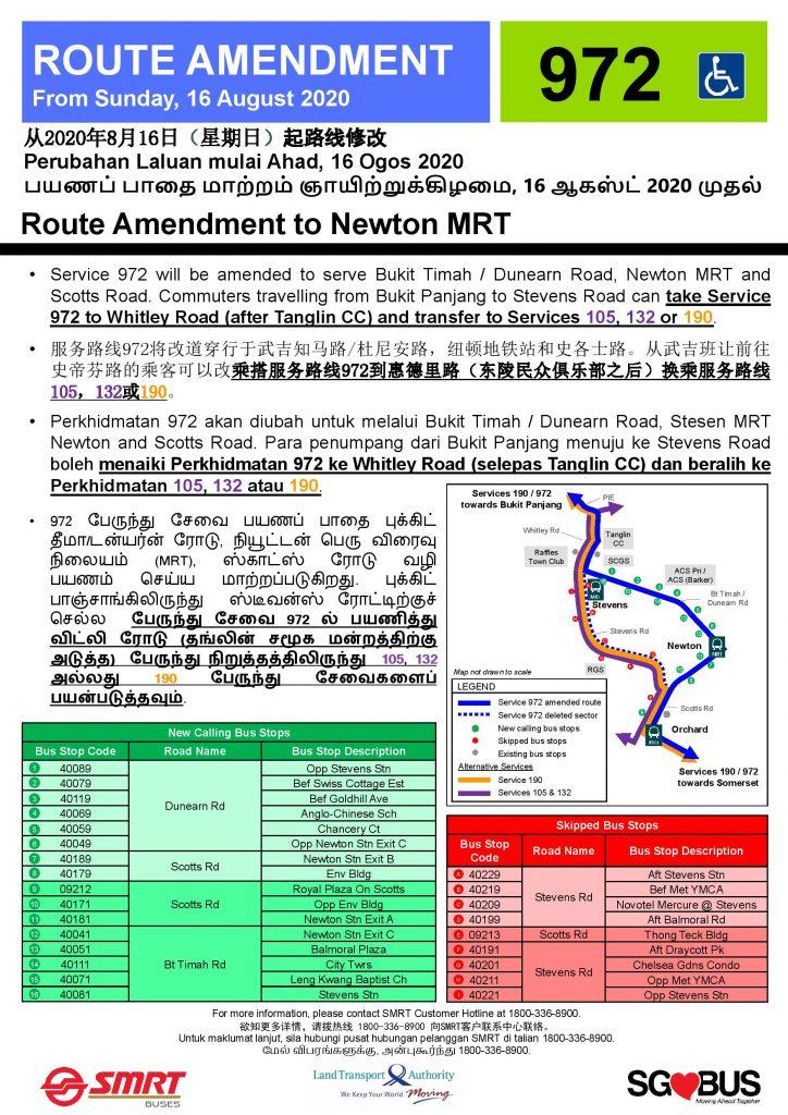 [Withdrawn Poster] Bus 972: Route Amendment to Newton MRT