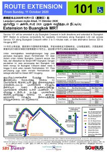 [Cancelled] Service 101 Route Extension to Buangkok MRT (Updated Poster)