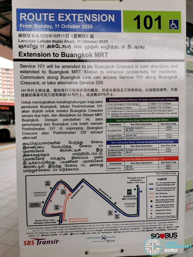 [Cancelled] Service 101 Route Extension to Buangkok MRT
