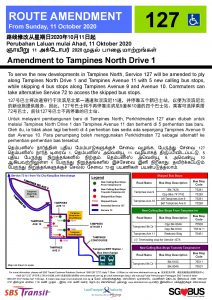 Service 127 Amendment to Tampines North Drive 1