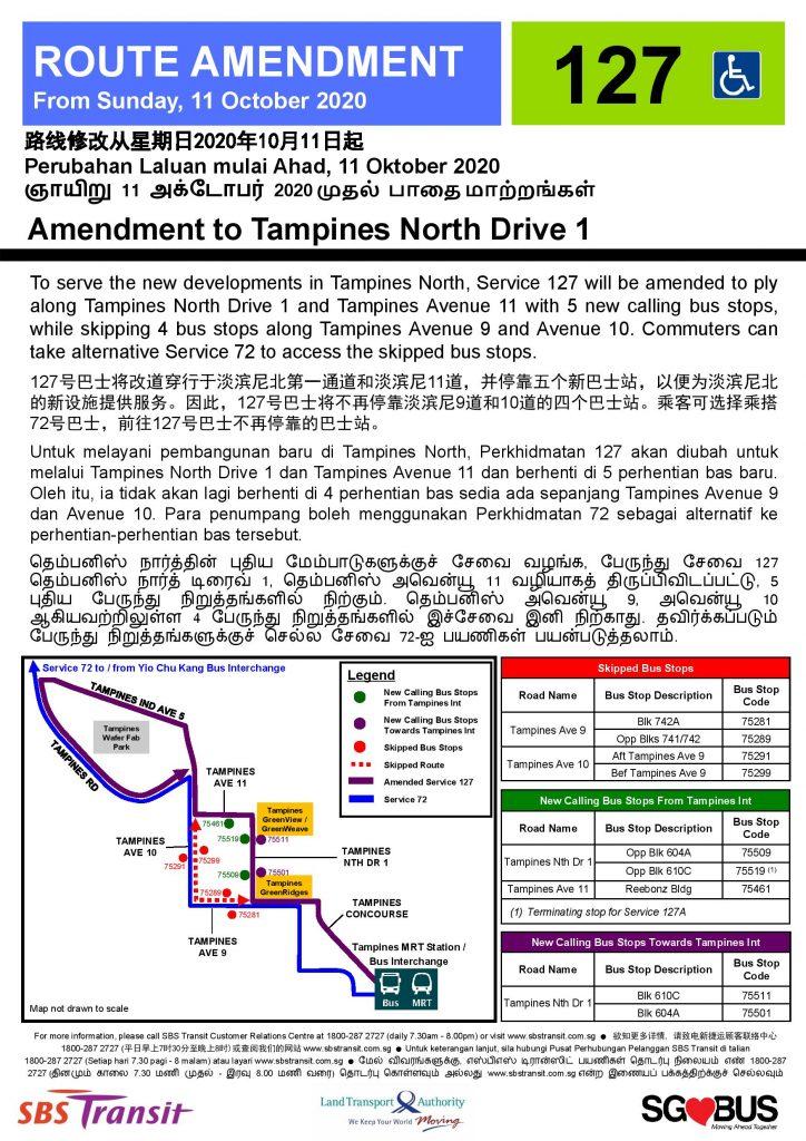 Service 127 Amendment to Tampines North Drive 1