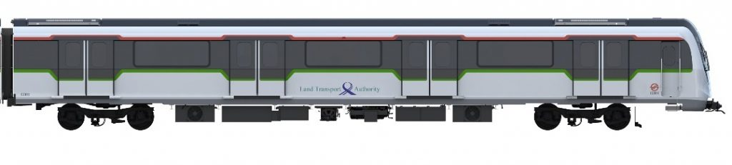 Exterior Side Profile of Bombardier MOVIA CR151 (40 Additional New Trains Ordered in September 2020) (Image: LTA)