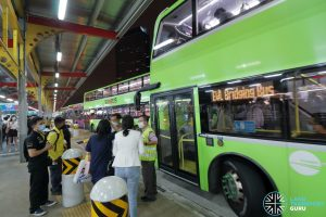 Tower Transit EWL Bridging Bus at Jurong East Temp Int during MRT Disruption on 14 Oct 2020