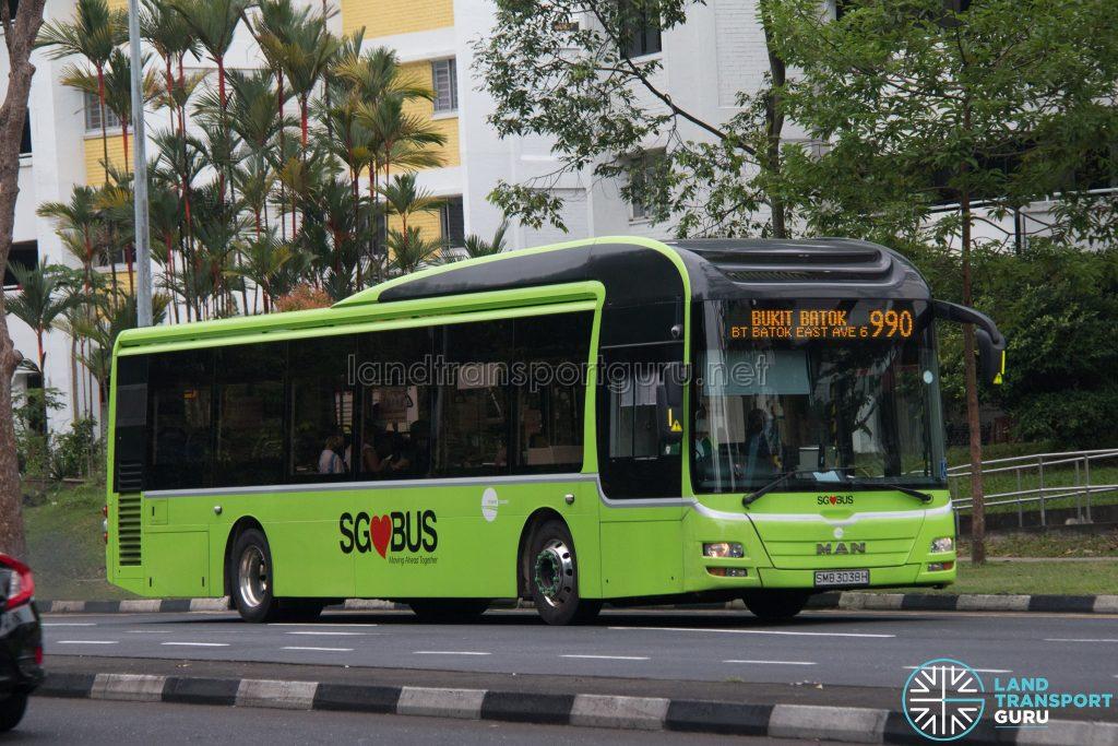Bus 990: Tower Transit MAN A22 (SMB3038H)