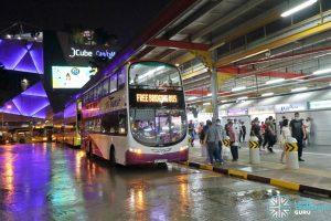 SBS Transit EWL Free Bridging Bus (SBS3076M) at Jurong East Temp Int