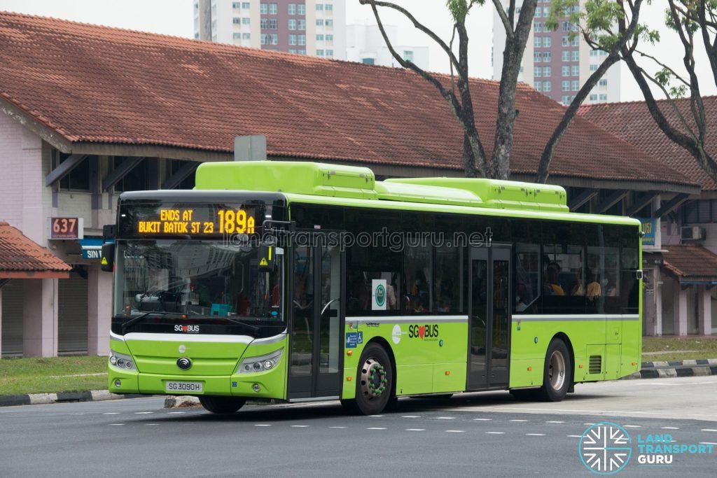 Bus 189A: Tower Transit Yutong E12 (SG3090H)