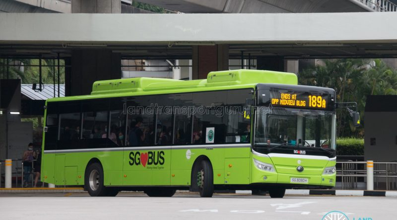 Bus 189A: Tower Transit Yutong E12 (SG3090H)