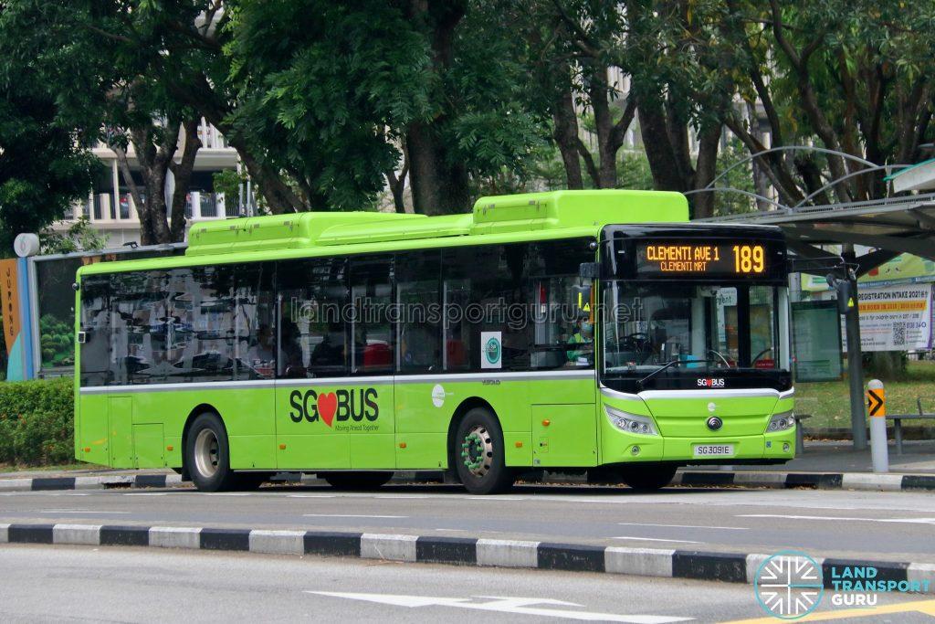 Bus 189 - Tower Transit Yutong E12 (SG3091E)