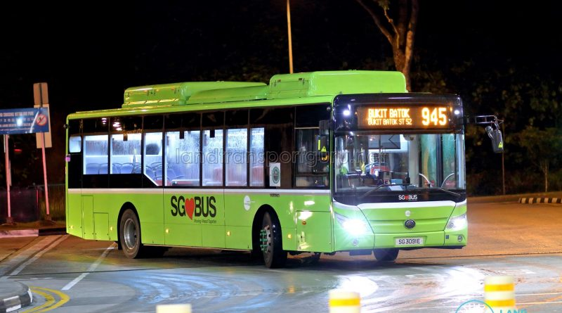 Bus 945: Tower Transit Yutong E12 (SG3091E)