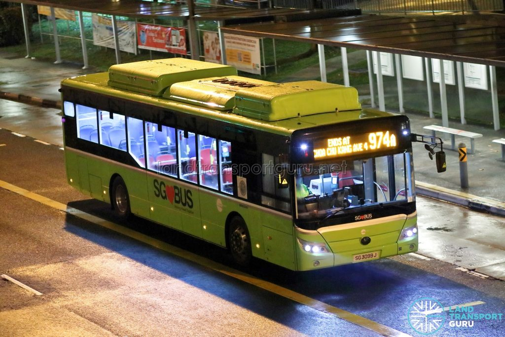 Bus 974A: Tower Transit Yutong E12 (SG3099J)