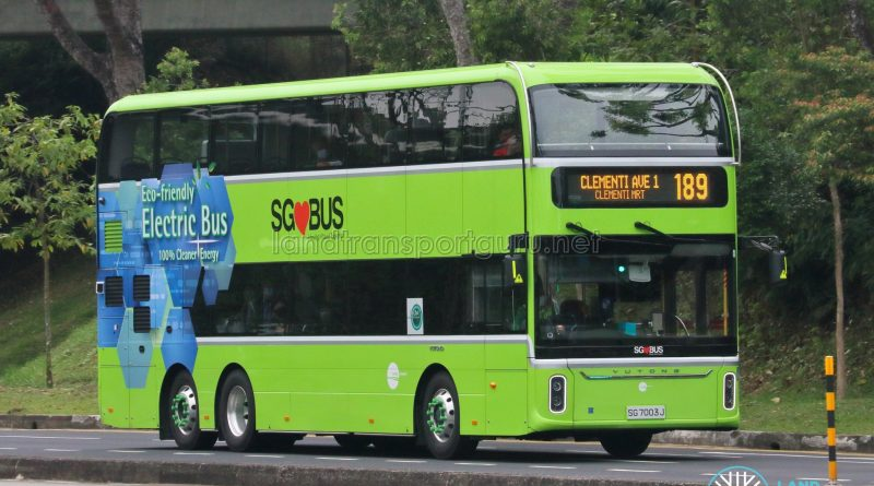 Bus 189 - Tower Transit Yutong E12DD (SG7003J)