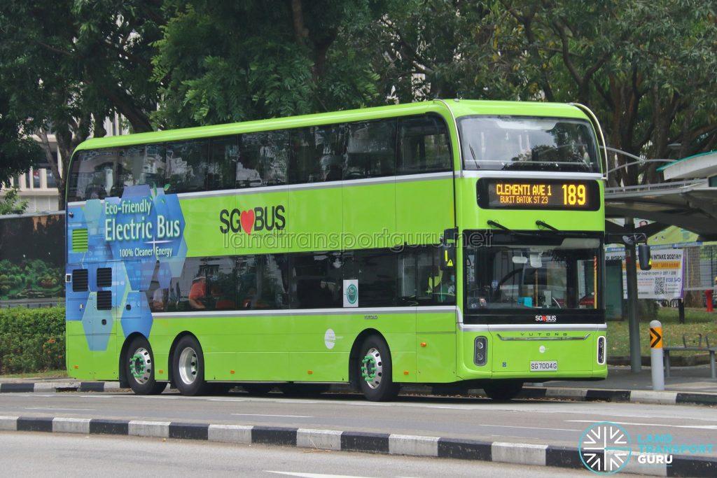 Bus 189 - Tower Transit Yutong E12DD (SG7004G)