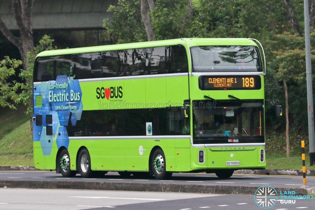 Bus 189 - Tower Transit Yutong E12DD (SG7005D)
