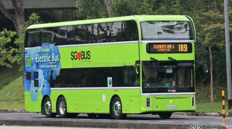 Bus 189 - Tower Transit Yutong E12DD (SG7005D)