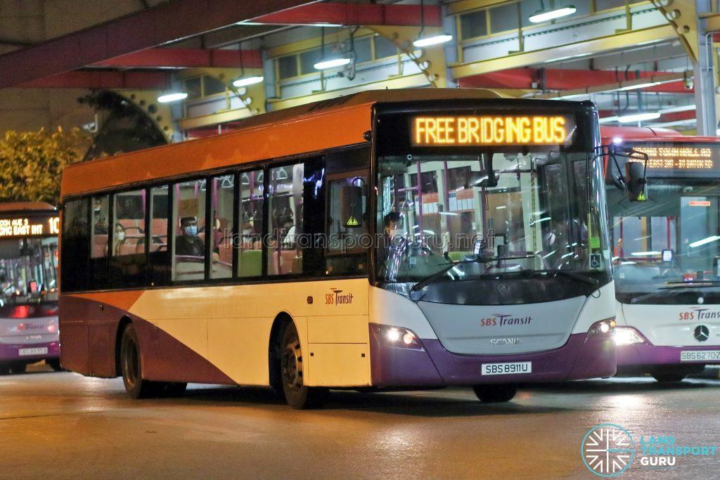 EWL Free Bridging Bus - SBS Transit Scania K230UB Euro V (SBS8911U)