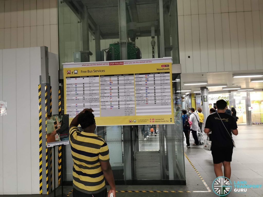 Free Bus Services notice at Woodlands MRT Station during MRT Disruption on 14 Oct 2020